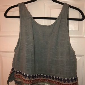 UO detailed turquoise tank with back cut out